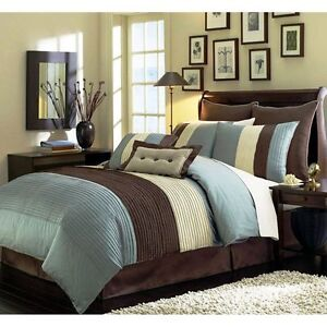 Beige Blue and Brown Luxury Stripe Queen Size 8 Piece Comforter Set