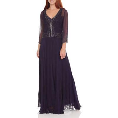 NEW J Laxmi Women Size 10 Violet Beaded Chiffon Dress with Jacket 1484VMJI 2 pcs for sale  Midvale