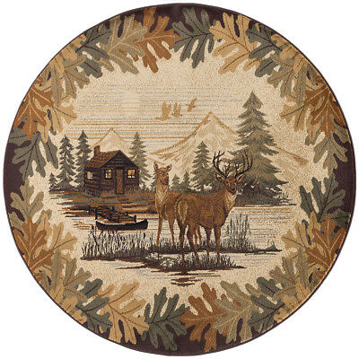Rustic Lodge Deer - Lodge Cabin Deer Buck Rustic Forest Area Rug **FREE SHIPPING**