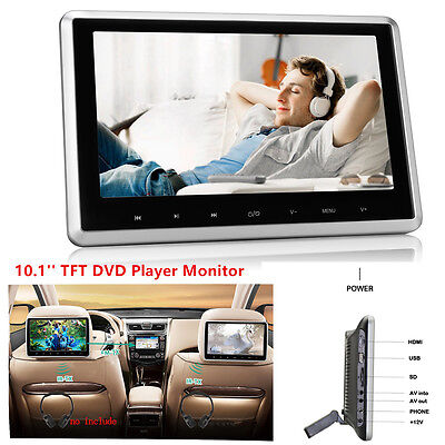 "10"" TFT Rear-Seat Monitor Headrest Car DVD Player Touch Botton Handsfree HDMI FM"