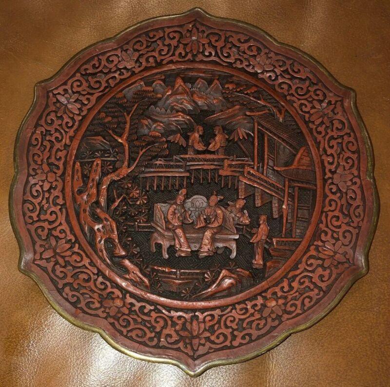 Fine 19th Century Chinese Cinnabar Plate Scalloped