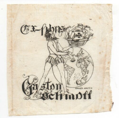 Antique Bookplate Design by Ismael Smith Ex Libris Gaston Schmoff  Drawing ?