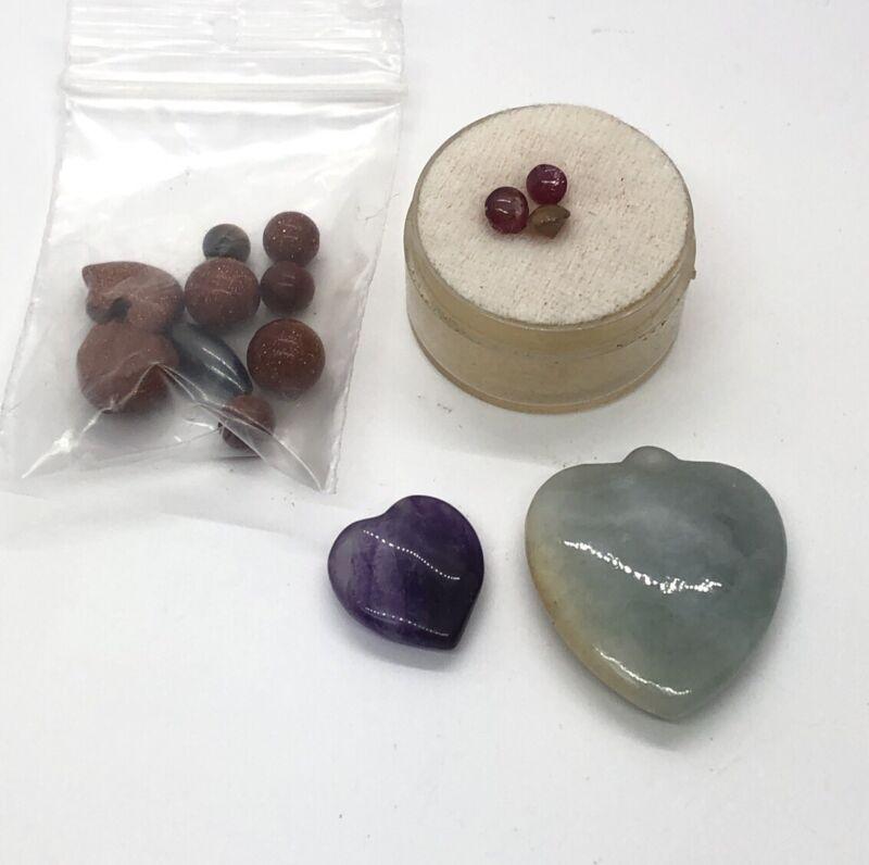 Lot Gem Gemstones Lot Goldstone Amethyst Jade Ruby