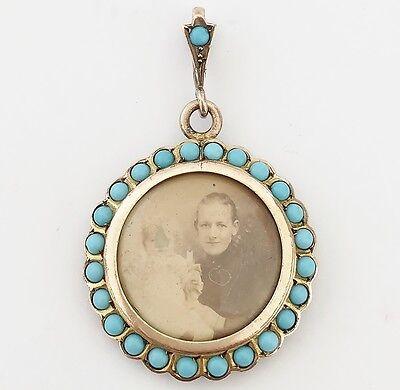 Antique Victorian Gold Gilt & Turquoise locket - Mourning Photo Pendant - C1880