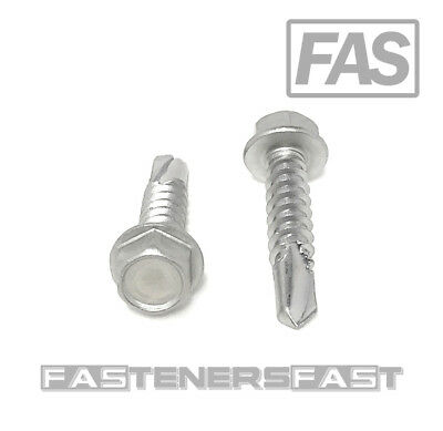 50 12 X 1 Stainless Steel Hex Washer Head Self Drilling Tapping Tek Screws