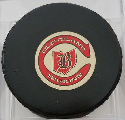 1977-83 CLEVELAND BARONS NHL VICEROY  OFFICIAL GAME USED PUCK CANADA VINTAGE