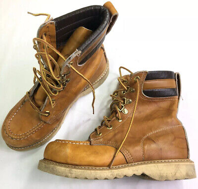 """Iron Age Mens Size 6 Steel Toe 6"""" Leather Work Boots Vintage Union Made"""