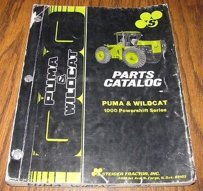 Steiger Wildcat Puma Tractor 1000 Powershift Parts Catalog Manual Book Case 1987