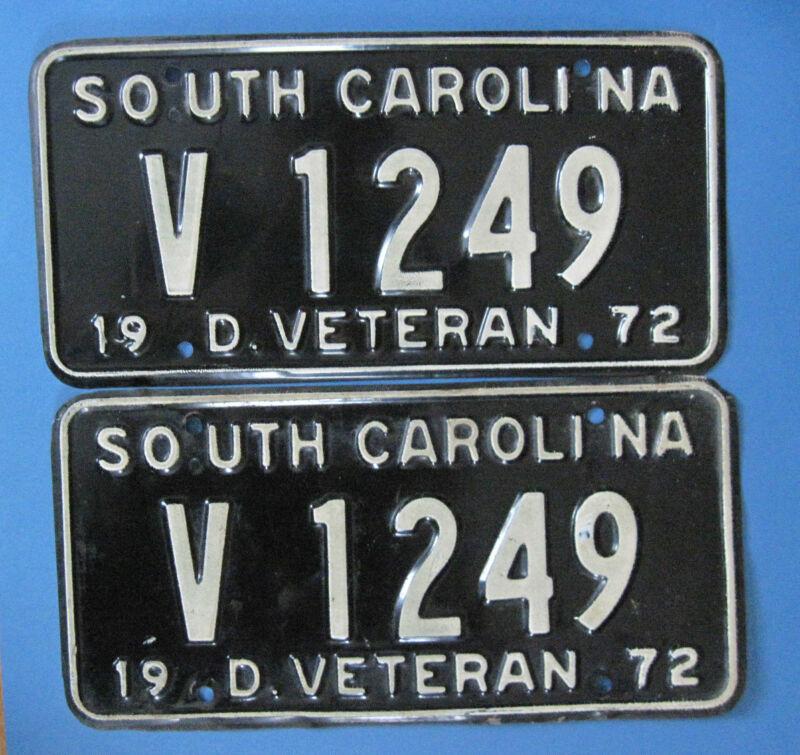 Matched pair 1972 South Carolina Disabled Veteran license plates
