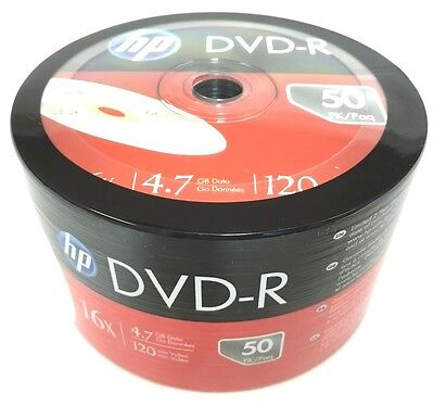 HP DVD-R 16X 4.7GB 120MIn DVD-R Branded Logo 50pcs  1x 50 pack In Plastic Wrap