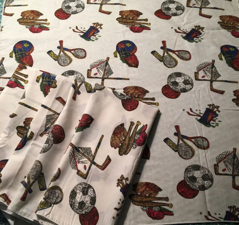 """Sports Equipment 8 Dinner Napkins Fabric 20"""" x 21"""" ~ Face Masks ~ Craft Projects"""