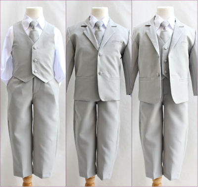 Boys silver light grey formal suit Fancy wedding Holiday set long tie vest pants - Boys Grey Suit