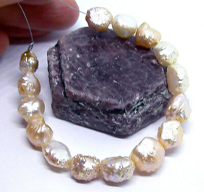 GENUINE ROSEBUD KESHI DRUZY WHITE CREAM RAINBOW BRONZE  PEARLS STRAND 8-10mm