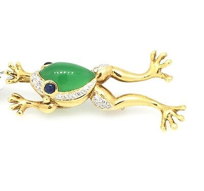 Frog Pin/Pendant w/Diamond, Sapphire and Chrysoprase in18k Yellow Gold - HM1581R Diamond Frog Pin