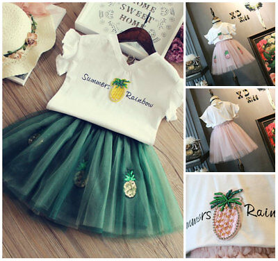 Holiday Outfits For Kids (2PCS Summer outfits for baby kids girls Tee + skirt party birthday)