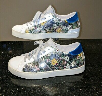 D.A.T.E. DATE Premium Sneakers Brand Low Top Floral Shiny Silver sz 7 CLEAN