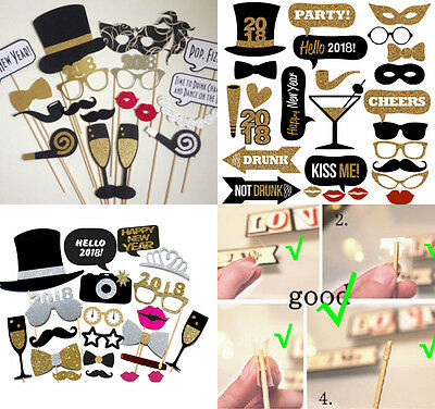 2018 New Year's Eve Party Supplies Card Masks Photo Booth Props Decorations US - New Year Eve Party Decorations