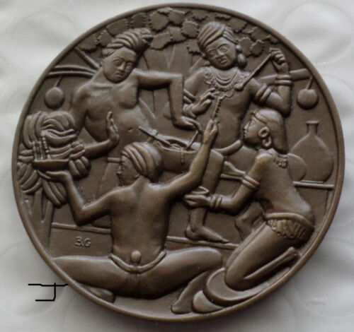 SUSRUTA Figure of Ancient Hindu Surgery India Medicine Vintage Bronze Medal