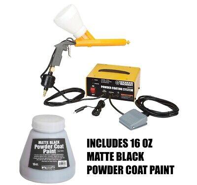 Powder Coating System Electrostatic Paint Gun Includes 16oz Matte Black Paint