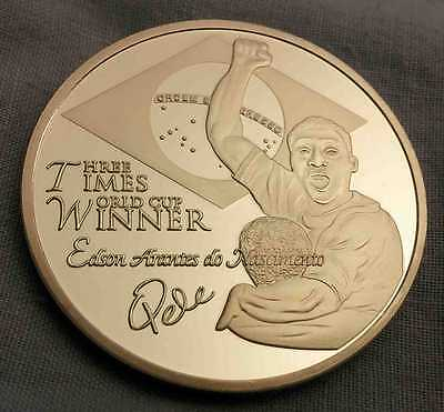 Pele Silver Coin WORLD CUP Autographed Sports Argentina Italy England Germany US