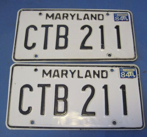 1984 Maryland License Plates Matched Pair