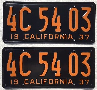 1937 California License Plates Pair DMV Clear Restored, Front & Back