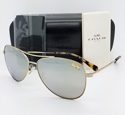 New Coach sunglasses HC7079 9322Z3 58mm Gold Silver Aviator Pilot AUTHENTIC 7079