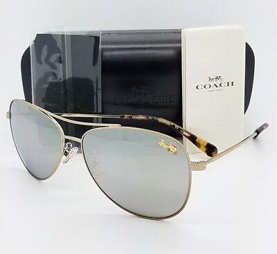 New Coach sunglasses HC7079 9322Z3 58mm Gold Silver Aviator Pilot AUTHENTIC 7079