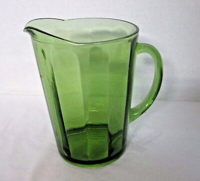Olive Green Glass Pitcher, Ribbed Design, Beer, Ice Tea, Water, Juice