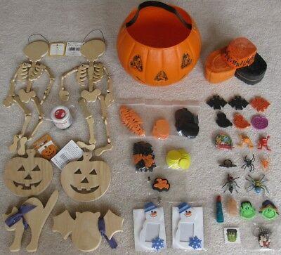 Halloween Party:  Craft Supplies, Spooky Toys, Streamers, Pumpkin Treat Basket - Halloween Spooky Treats Parties