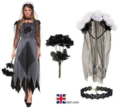 Halloween Ladies Zombie CORPSE BRIDE Costume Ghost Fancy Dress Adult Women UK