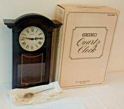 Vintage Wooden Mantle Wall Clock SEIKO Quartz Clock Pendulum Working Box Chime