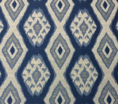 Ballard Designs Tybee Blue Diamond Medallion Ikat Designer Fabric By Yard 56 W