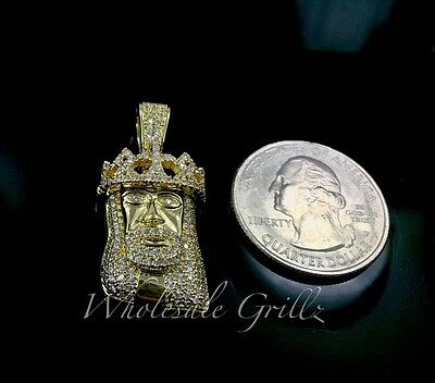 Diamond Crown Charm - NEW MICRO Jesus Pendant Crown Mini King 14k Gold gp Simulate Diamond Pave Charm!
