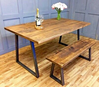 Reclaimed Industrial Live Edge Dining Table Vintage Oak Reclaimed Dining Table