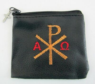 Rosary CASE embroidered Chi Rho ~ BLACK zipper pouch for Rosaries
