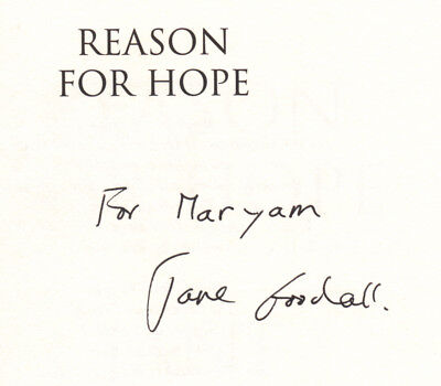 Reason For Hope   Signed   Inscribed By Jane Goodall   First Edition Hardcover