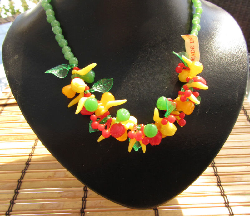Vintage Fruit Salad Beaded Green Celluloid / plastic Necklace TIKI LOOK