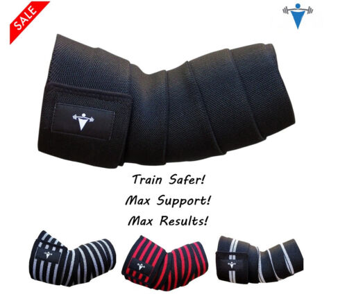 Heavy Duty Elbow Sleeves Support Wraps Straps Gym Power Weight Lifting Pair Xfit