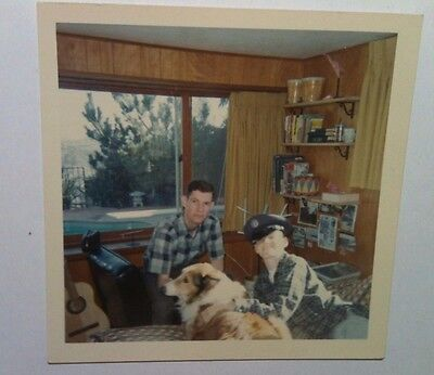 Vintage 60s PHOTO Brothers In Room w/ Lassie Dog Bed Acoustic Guitar Captain Hat