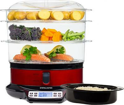 Andrew James Electric 3 Tier Digital Food Steamer 9 Litre Vegetable Rice Fish