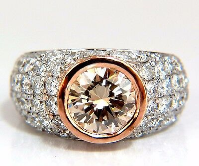 GIA Certified 3.08ct. Fancy light brown round cut diamond ring 14kt + 2