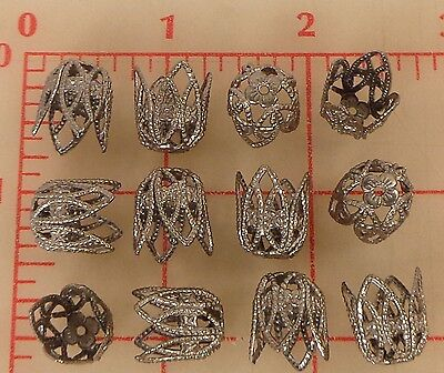 144 Metal Filigree Bead Caps Antique Silver Color Flower Designs 16mm x 13mm