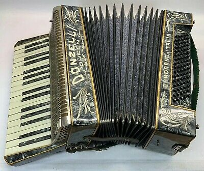 Vintage Italian Piano Accordion 'Donzelli Queen' Cased 34/80 Italy W/ Sheets