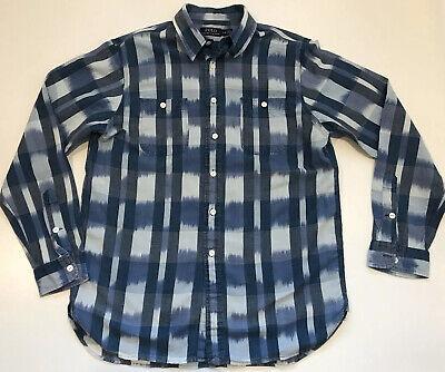 Polo Ralph Lauren Chambray Ikat Plaid Long Sleeve Shirt L Denim Check Long Sleeve Chambray Plaid Shirt