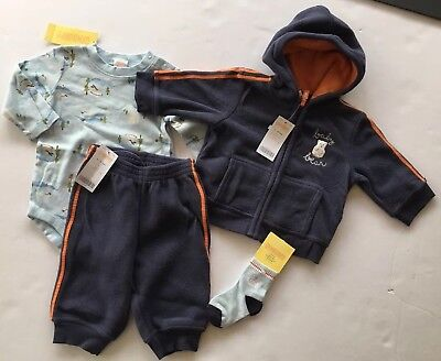 NWT Gymboree Fun in the Snow 6-12 Navy & Orange Baby Bear Fleece Hoodie & Pants for sale  Shipping to India