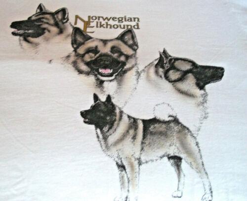 "Norwegian Elkhound T-shirt  "" White "" SM ( 34 - 36 )"
