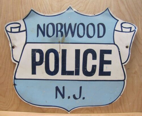 NORWOOD POLICE NJ Old Retired Sign badge design thin metal New Jersey P.D. ad