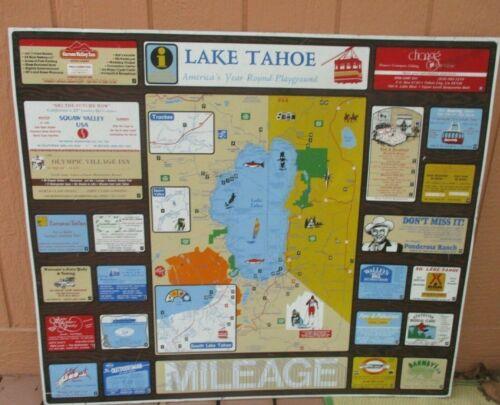 "METAL TOURIST MAP SIGN 42"" x 36"" LAKE TAHOE NV / CAL.  BOATING SKI AREA"