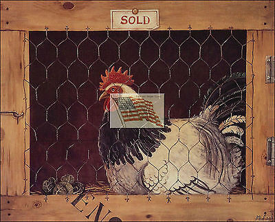 REPRINT PICTURE of older print ROOSTER D in a wood cage england country 7x5 5/8